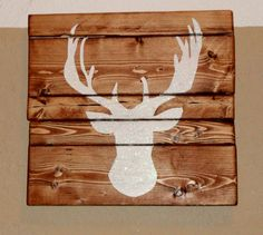 Hand Painted Glitter Deer Head Wooden Sign - Fully Customizable-- So cute!