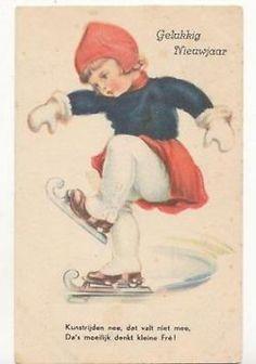 Gelukkig Nieuwjaar. een oude in 1938 gelopen kaart. Skating Pictures, Christmas Cards, Xmas, People Dancing, Ice Skaters, Lets Dance, Silent Night, Vintage Postcards, Smurfs