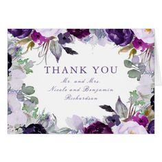 Purple Watercolor Flowers Wedding Thank You Card