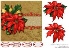 Simply Xmas 2 on Craftsuprint designed by Carol James - A beautifully simple Christmas 7 x 7 topper with decoupage pieces and 3 sentiment tags (plus a blank tag)Sentiments include:Merry ChristmasChristmas BlessingsThinking of You - Now available for download!