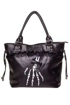 Banned Gothic Lolita Skeleton Hands and Black Bow Lace Trim Handbag - Skelapparel
