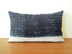 "12""x20"" Hmong Lumbar Indigo Tribal Batik Hemp Pillow Cover, Ethnic Hand Print Pillow Case, Boho Chic Cushion Cover"
