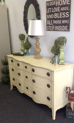 Antique dresser, painted, in Cream Chalk Paint® decorative paint by Annie Sloan!