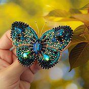 Украшения ручной работы. Ярмарка Мастеров - ручная работа Брошь бабочка Бирюза. Handmade.