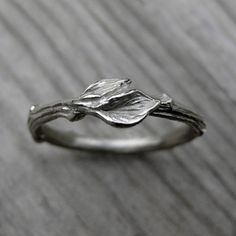 Twig with Leaves Wedding Band. By Kristin Coffin Jewelry. Available in rose, yellow, or white gold.