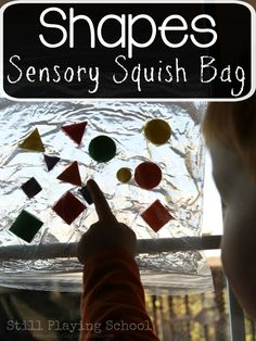 Kids learn to identify shapes and colors by creating this sensory shape squish bag! Alphabet Activities, Sensory Activities, Activities For Kids, Crafts For Kids, Educational Activities, Learning Shapes, Kids Learning, Sand Writing, Thanksgiving Writing