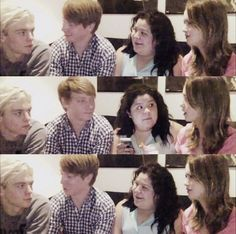 Ross doesn't stop looking at laura. He looks the same in all three pictures