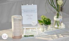 Taufe Kirchenheft Place Cards, Place Card Holders, Table Decorations, Home Decor, Invitations, Decoration Home, Room Decor, Home Interior Design, Dinner Table Decorations