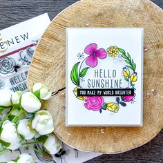 Altenew | Hello Sunshine Floral Wreath Card by Yana Smakula (colored with Prismacolor pencils)