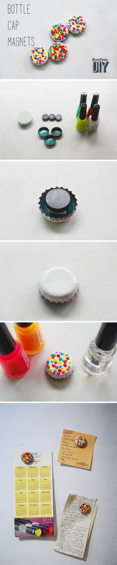 Bottle Cap Magnets.  Materials: bottle caps, magnets, mounting tape, white nail polish, and a variety of other nail polish colors.