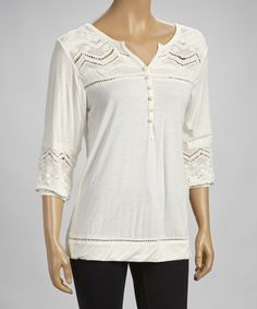 Take a look at this Natural Crocheted Tunic by Simply Irresistible on #zulily today! 19.99
