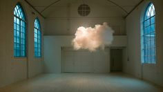 NIMBUS II: Artist Berndnaut Smilde: The clouds are generated using a smoke machine, but Smilde must carefully monitor a room's humidity and atmosphere in order to get the smoke to hang so elegantly, and with such life-like form. Backlighting is used to bring out shadows from within the cloud, to give it that look of a looming and ominous rain cloud. #Berndnaut_Smilde #Clouds