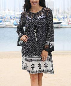 Look at this #zulilyfind! Black & White Floral Lace Yoke Shift Dress #zulilyfinds