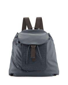 Bottega Veneta Woven Leather Backpack, Navy Blue