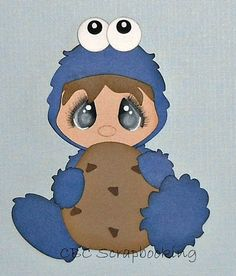 Blue Cookie Monster Dress Up Premade Paper Piecing Scrapbook Layout Boy Girl