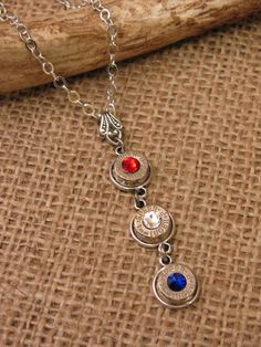 SureShot Jewelry & Accessories Women's Patriotic Red, White and Blue Triple Bullet Casing Drop Necklace - Silver Bullet Shell Jewelry, Bullet Casing Jewelry, Bullet Ring, Bullet Necklace, Drop Necklace, Bullet Art, Washer Necklace, Pendant Necklace, Ammo Jewelry