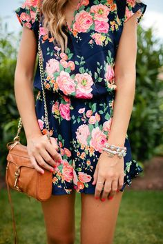 Cute navy blue jumpsuit with vintage floral pattern