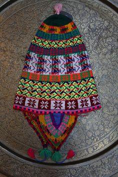 Vintage Bolivian hat, hand knit, $125