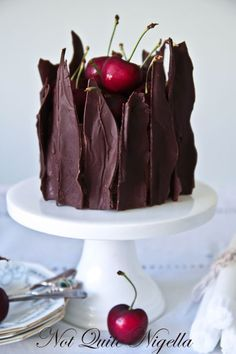 black forest cheesecake. FANCY! and looks like somempart of the deep dark woods of a fairytale. would be fun to do with a theme night!