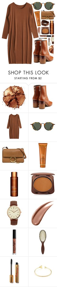 """In Brown"" by monmondefou ❤ liked on Polyvore featuring Pat McGrath, Maison Margiela, Ray-Ban, Chloé, Lancôme, Clarins, Fashion Fair, BKE, NYX and Christophe Robin"