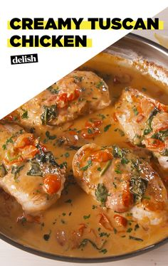 Creamy Tuscan Chicken will be your favorite thing to make with chicken breast. Get the recipe at Delish.com. #recipe #easyrecipe #easy #dinner #chicken #tomatoes #spinach #cheese #easydinner #italian