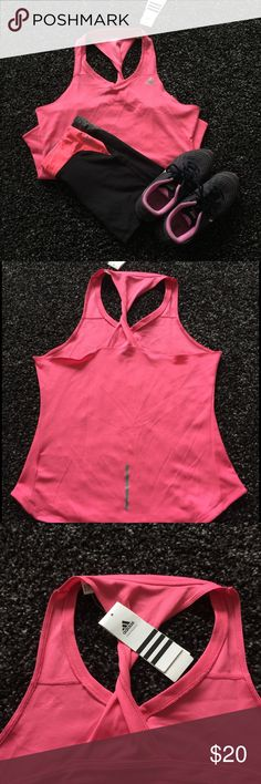 Adidas Women's Running Tank Never used. Size large, bright pink. Excellent condition. Adidas Tops Tank Tops