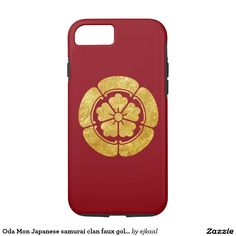 Oda Mon Japanese samurai clan faux gold on red