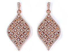 Rose Gold Plated CZ Leaf Drop Earrings