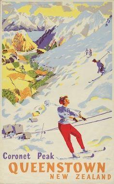 Vintage Coronet Peak Ski-ing Poster for Sale - New Zealand Art Prints