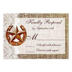 Rustic Horseshoe Star Burlap Wedding RSVP Cards