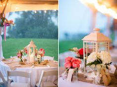 Rent lanterns for an easy DIY centerpiece  A Pink, Mint, and Burlap Wedding