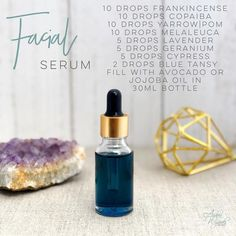 DIY Skin Care Tips : {Facial Serum} Isn't this blue color amazing? That's because of the chamazulene in the Yarrow Blue Tansy Essential Oil, Essential Oils For Face, Essential Oil Uses, Young Living Essential Oils, Blue Tansy Oil, Living Oils, Melaleuca, Doterra Essential Oils, Belleza Natural