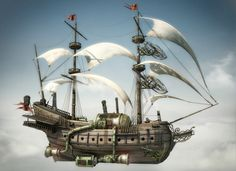 [image] Title: The Flying Ship Name: Francesco Dell'Anna Country: Italy Software: max, Photoshop, VRay Hy guys this is my last work. A steampunk flying ship. Chat Steampunk, Steampunk Ship, Arte Steampunk, Steampunk Pirate, Minecraft Steampunk, Steampunk Wallpaper, Steampunk Artwork, Flying Ship, Flying Boat