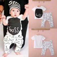 Wish | Newborn 0 6 12 18 24Months Baby Boy Girl Clothes T-shirt Pants Outfits Set AU Boss pattern black and white