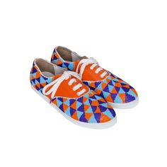 Twins for Peace | GACHA INCA - TRICOLOR BEADS AND ORANGE LEATHER SNEAKERS FOR WOMEN