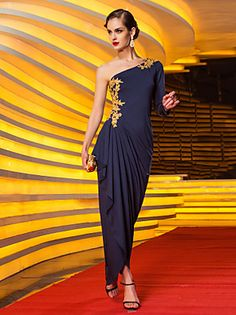 TS Couture® Formal Evening / Military Ball Dress - Elegant Plus Size / Petite Sheath / Column One Shoulder Floor-length Jersey with Appliques  – USD $ 435.00