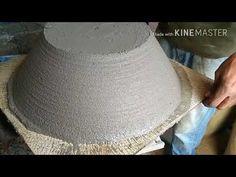 Como fazer vaso,rápido e fácil. - YouTube Concrete Pots, Concrete Projects, Cement Flower Pots, Cement Art, Stone Fountains, Stone Sink, Sticks And Stones, Ceramic Planters, Clay Pots