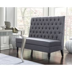 Features:  -Grandiose scaling with high back featuring deep button tufting and folded seams.  -Web seating support.  -Thick padded cushioning throughout.  -Back straight.  Bench Type: -Kitchen bench/E