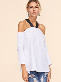 Cheap cold shoulder blouse, Buy Quality blouse fashion directly from China fashion blouses Suppliers: Sheinside Blue Cold Shoulder Blouse Women Contrast Strap Shirt Sexy Backless Summer Tops 2017 Fashion Sleeve Casual Blouse Fashion In, Fashion 2017, Style Fashion, Fashion Dresses, Sexy Shirts, Shirts & Tops, Chemises Sexy, Sensual, Blouses For Women