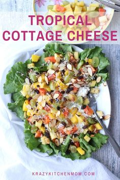 Tropical Cottage Cheese Fruit Salad Brighten up your brunch or lunch menu. Creamy, crunchy, sweet, fruity tropical cottage cheese fruit salad is not only good, but it's good for you. Other Recipes, New Recipes, Healthy Recipes, Summer Recipes, Easy Recipes, Healthy Lunches, Fruit Recipes, Healthy Eats, Salad Recipes