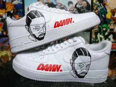 Custom Nike Air Force one, kendrick lamar,damn,custom sneakers , custom shoes , custom nike ,custom kicks ,hand painted