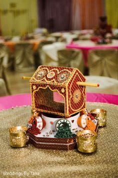 Mini Palanquin table centerpiece. http://www.maharaniweddings.com/gallery/photo/88368