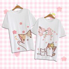 "Cute kawaii cartoon cat T-shirt Coupon code ""cutekawaii"" for 10% off"