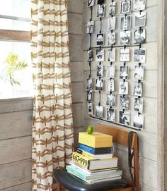 photo display and dragonfly curtains!
