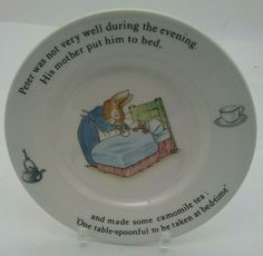 Bright Wedgwood Peter Rabbit Christening Set Bowl/cup/plate/money Box Pottery & Glass Children's Dishes