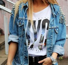 Studded denim.