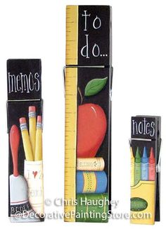 The Decorative Painting Store: School Memo Clips Pattern BY DOWNLOAD, Clothespin Memo Clips