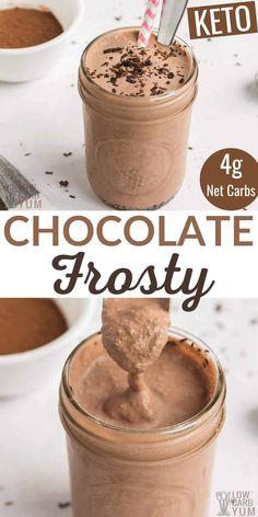 Chocolate Frosty, Chocolate Milkshake, Low Carb Deserts, Low Carb Sweets, Low Carb Shakes, Low Carb Keto, Low Carb Recipes, Comida Keto, Keto Snacks