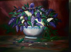 """Lilacs and Iris 16""""X20"""" Oil on Canvas"""