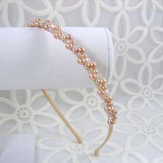 Soft Blush Rose Pink Freshwater Pearl Wedding Headband by OhFaro